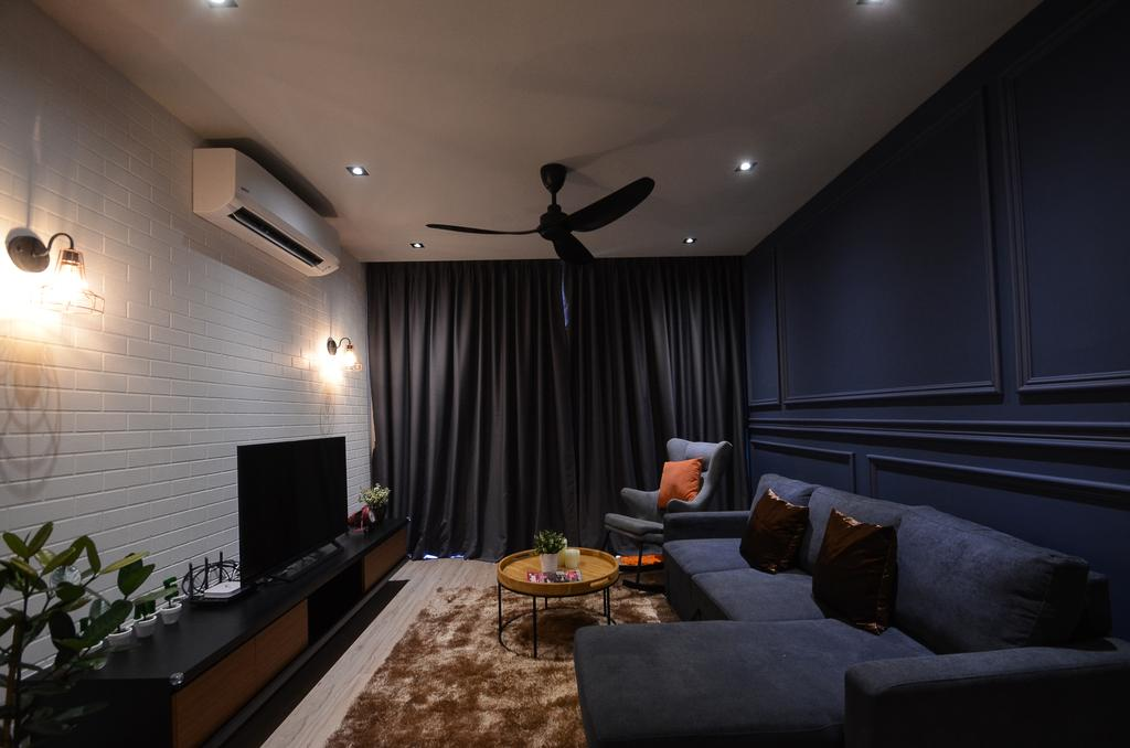 Modern, Condo, Aurora Residence, Puchong, Interior Designer, RK Interior Studio, Couch, Furniture, Luggage, Suitcase, Flora, Jar, Plant, Potted Plant, Pottery, Vase, Indoors, Interior Design