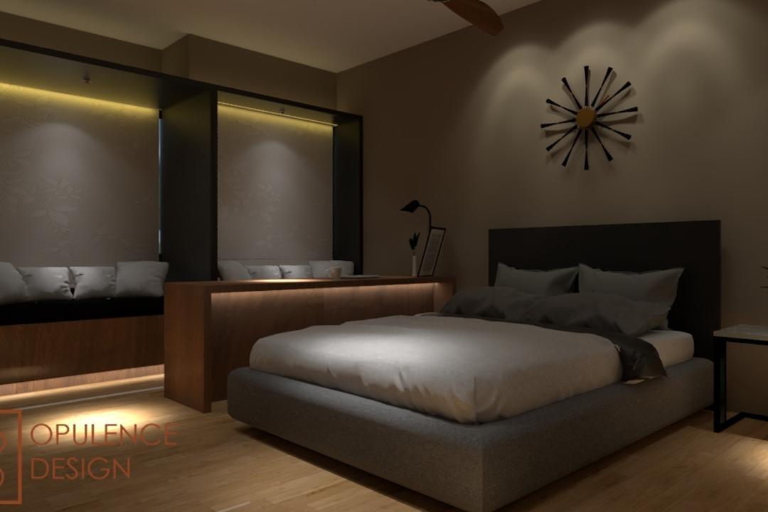 Condo, Petaling Jaya, Opulence Design, Condo, Clock, Wall Clock, Couch, Furniture, Indoors, Room, Bedroom, Interior Design