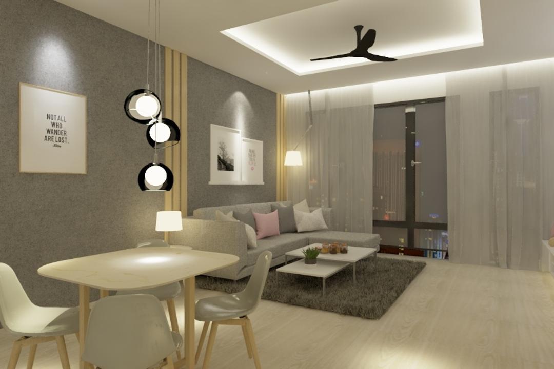 Potpourri Residences, KL, Opulence Design, Condo, Chair, Furniture, Light Fixture, Couch, Dining Room, Indoors, Interior Design, Room