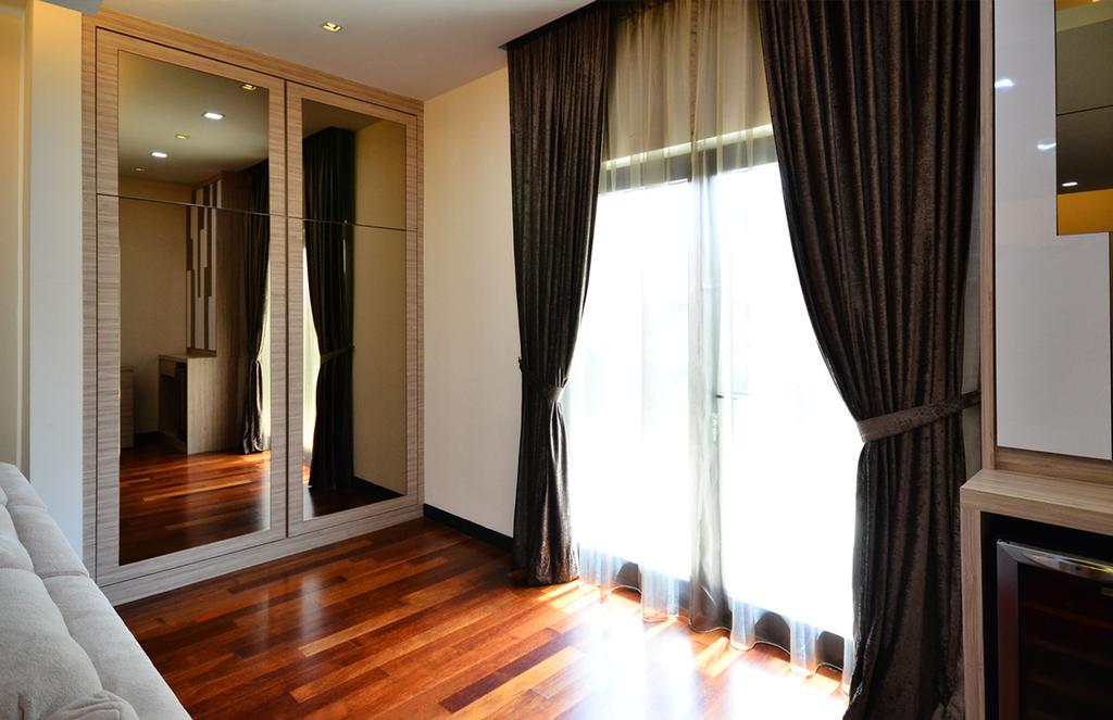Traditional, Landed, Bedroom, Beverly Heights, Interior Designer, Interior+ Design Sdn. Bhd., Wood Floor, Wooden Flooring, Curtains, Wardrobe, Curtain, Home Decor, Flooring