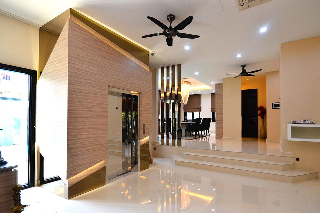 Beverly Heights, Interior+ Design Sdn. Bhd., Traditional, Landed, Ceiling Fan, Lift, Downlight, Light Brown, Concealed Lighting, Steps, Partition, Dining Room, Indoors, Interior Design, Room