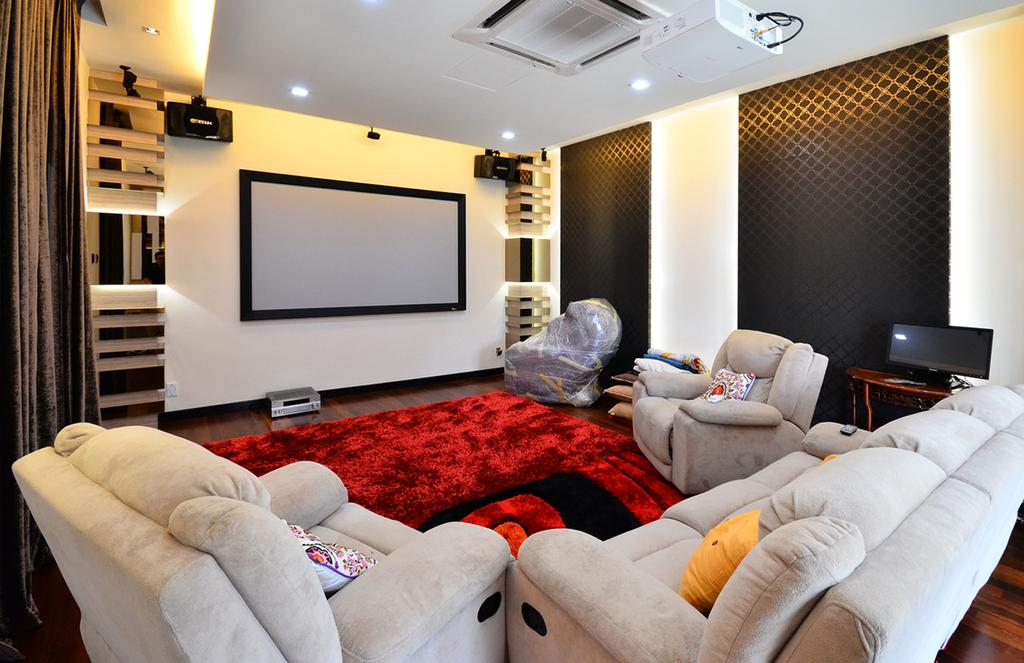 Traditional, Landed, Living Room, Beverly Heights, Interior Designer, Interior+ Design Sdn. Bhd., Armchair, Rest Chair, Sofa, Couch, Carpet, Red, Tv, Projector, Av Room, Cinema, Theater, Concealed Lighting, Furniture, Electronics, Entertainment Center, Home Theater, Indoors, Room, Projection Screen, Screen