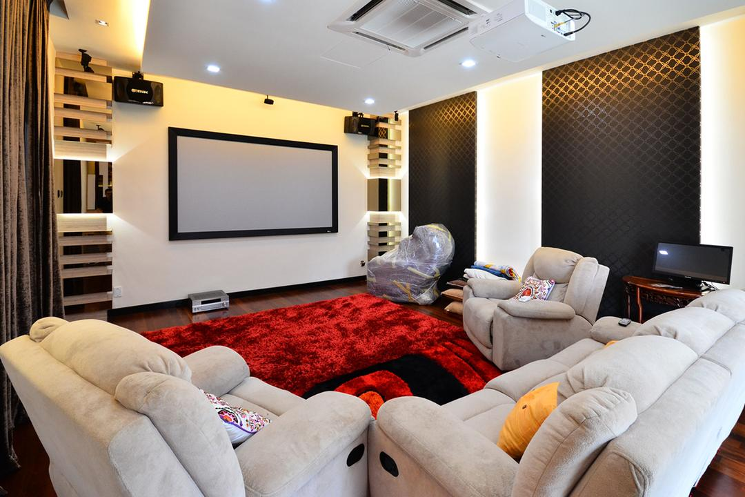 Beverly Heights, Interior+ Design Sdn. Bhd., Traditional, Living Room, Landed, Armchair, Rest Chair, Sofa, Couch, Carpet, Red, Tv, Projector, Av Room, Cinema, Theater, Concealed Lighting, Furniture, Electronics, Entertainment Center, Home Theater, Indoors, Room, Projection Screen, Screen