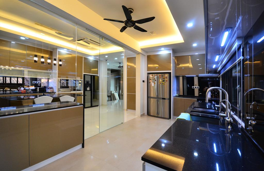 Traditional, Landed, Kitchen, Beverly Heights, Interior Designer, Interior+ Design Sdn. Bhd., False Ceiling, Cove Lighting, Concealed Lighting, Ceiling Fan, Downlight, Kitchen Cabinet, Cabinetry, Shiny, Glossy, Kitchen Sink, Sink, Reflective Surface, Reflection, Lighting