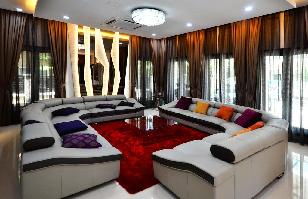 Traditional, Landed, Living Room, Beverly Heights, Interior Designer, Interior+ Design Sdn. Bhd., L Shape Sofa, Sofa, Couch, Carpet, Red, Patterns, Curtains, Downlight, Concealed Lighting, Curtain, Pillow, Cushion, Furniture, Indoors, Room, Architecture, Building, Column, Pillar, Interior Design
