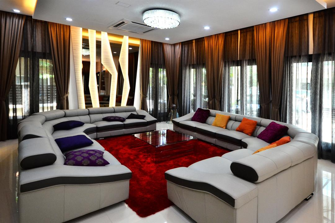 Beverly Heights, Interior+ Design Sdn. Bhd., Traditional, Living Room, Landed, L Shape Sofa, Sofa, Couch, Carpet, Red, Patterns, Curtains, Downlight, Concealed Lighting, Curtain, Pillow, Cushion, Furniture, Indoors, Room, Architecture, Building, Column, Pillar, Interior Design