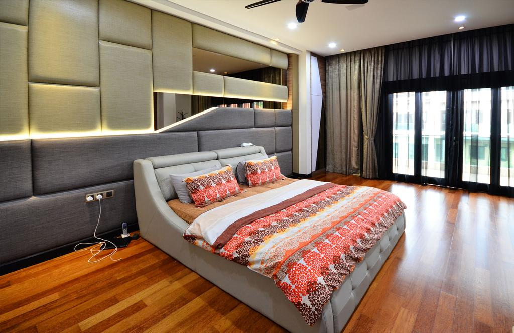 Traditional, Landed, Bedroom, Beverly Heights, Interior Designer, Interior+ Design Sdn. Bhd., Prints, Bed, Headboad, Downlight, Curtain, Wood Floor, Wood Flooring, Furniture, Couch
