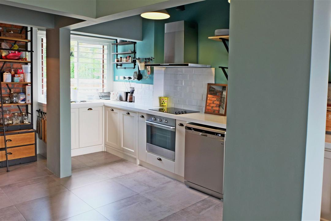 Ukay Heights, Interior+ Design Sdn. Bhd., Eclectic, Kitchen, Condo, Cabinet, Cabinetry, Kitchen Cabinet, Oven, Built In Oven, Exhaust Hood, Colourful, Fun, Cute, Quirky, Blue, Green, Happy, Appliance, Electrical Device, Indoors, Interior Design, Room