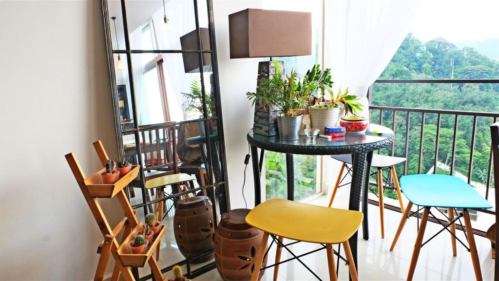 Eclectic, Condo, Balcony, Ukay Heights, Interior Designer, Interior+ Design Sdn. Bhd., Quirky, Cute, Fun, Colourful, Colours, Plants, Nature, Mirror, Floor Mirror, Stand Lamp, Yellow, Blue, Chair, Furniture, Flora, Jar, Plant, Planter, Potted Plant, Pottery, Vase, Dining Room, Indoors, Interior Design, Room