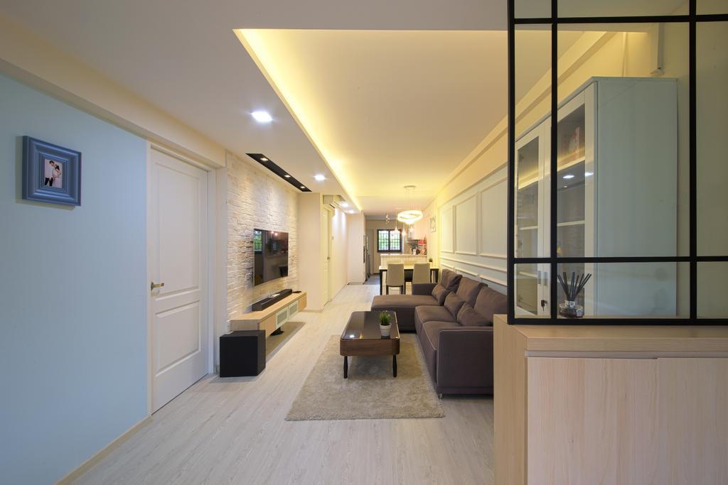 Scandinavian, HDB, Living Room, Bedok, Interior Designer, Dap Atelier, Couch, Furniture, Coffee Table, Table, Door, Sliding Door, Indoors, Interior Design