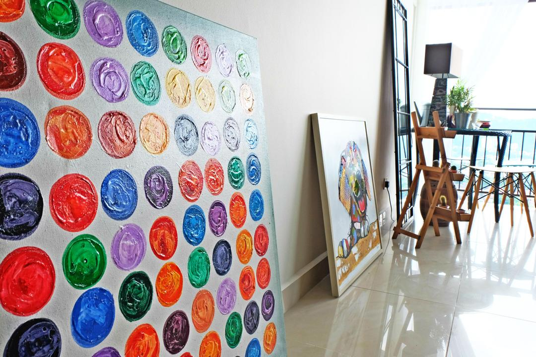 Ukay Heights, Interior+ Design Sdn. Bhd., Eclectic, Living Room, Condo, Colourful, Colours, Funky, Quirky, Fun, Cute, Painting, Artsy, Artistic, Chair, Furniture, Paint Container