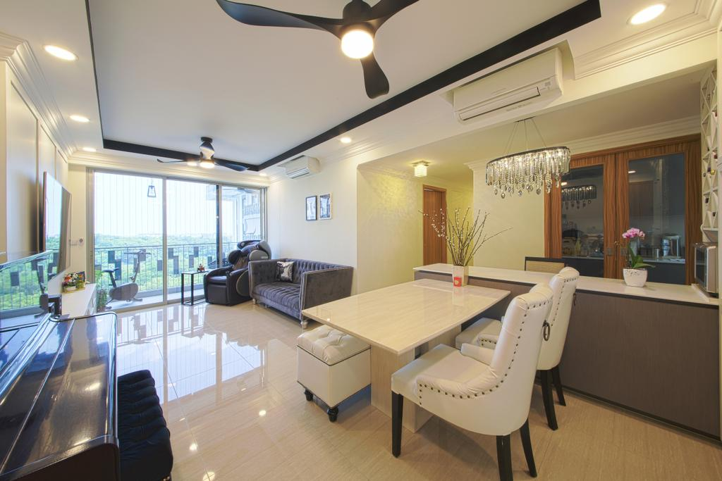 Modern, Condo, Dining Room, Flo Residence, Interior Designer, Dap Atelier, Chair, Furniture, Luggage, Suitcase, Lighting, Couch