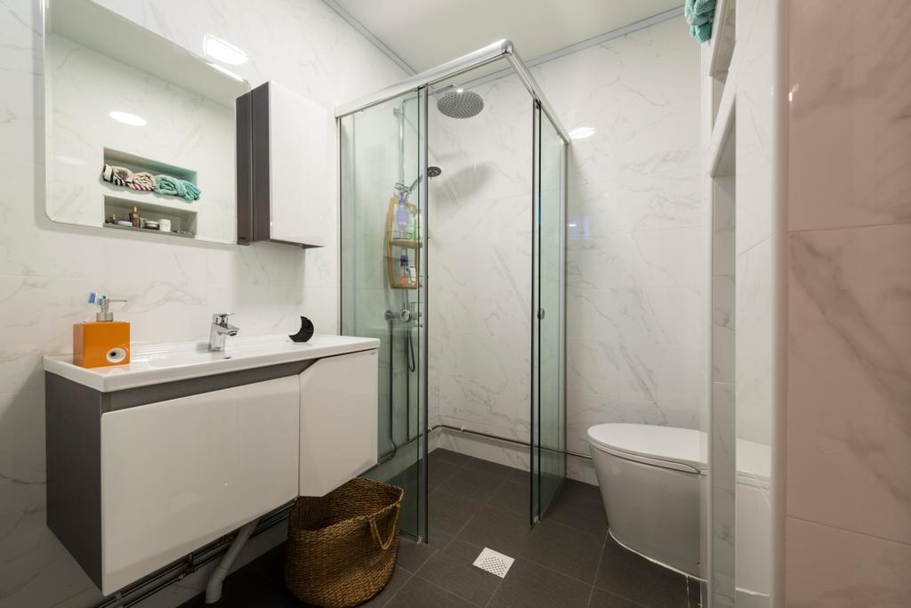 Scandinavian, HDB, Bathroom, Jalan Rajah, Interior Designer, Fifth Avenue Interior, Indoors, Interior Design, Room, Shelf