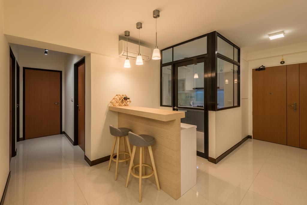 Modern, HDB, Living Room, Edgedale Plains, Interior Designer, Fifth Avenue Interior, Bar Stool, Furniture, Indoors, Interior Design, Kitchen, Room, Flooring