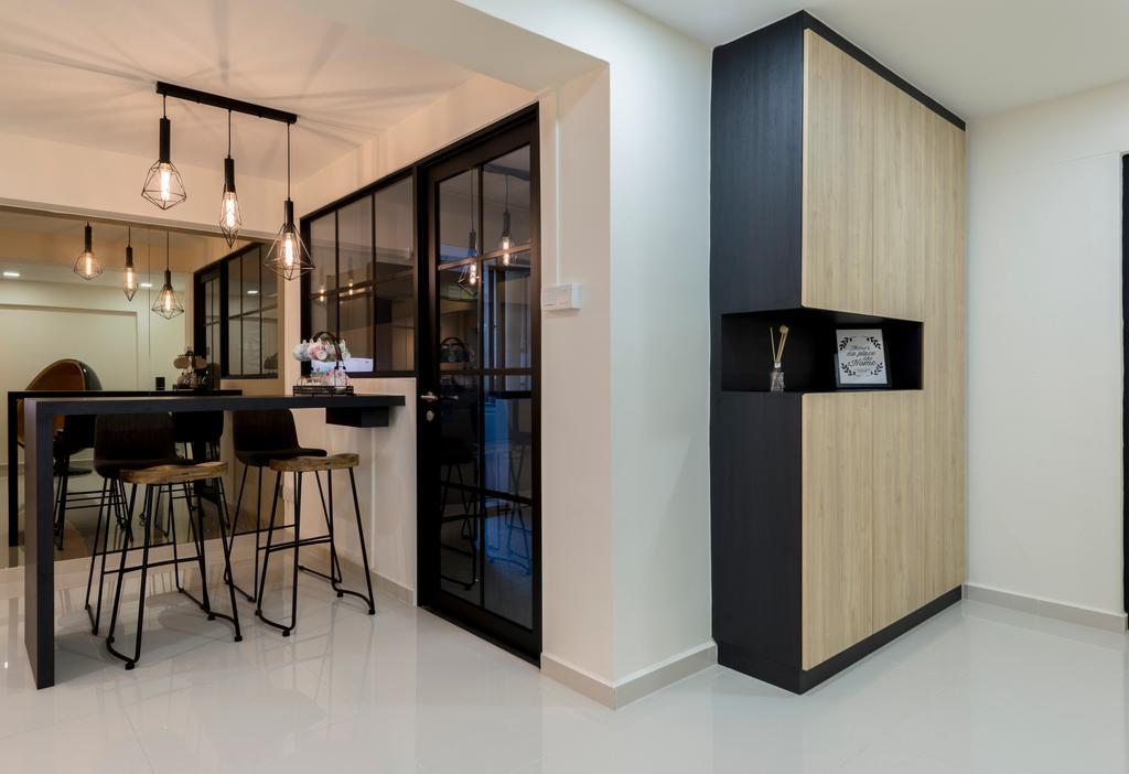 Modern, HDB, Woodlands Avenue 6, Interior Designer, Fifth Avenue Interior, Contemporary, Dining Table, Furniture, Table, Door, Sliding Door, Chair