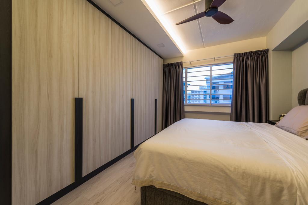 Modern, HDB, Bedroom, Woodlands Avenue 6, Interior Designer, Fifth Avenue Interior, Contemporary, Bed, Furniture, Curtain, Home Decor, Indoors, Room