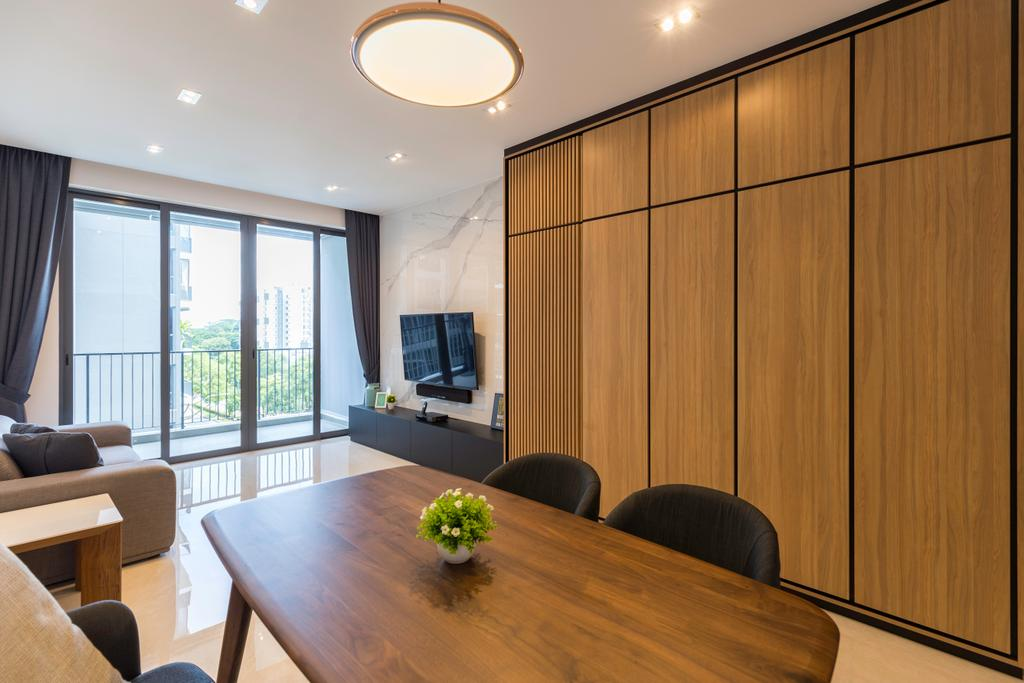 Scandinavian, Condo, Signature @ Yishun, Interior Designer, Charlotte's Carpentry, Couch, Furniture, Dining Table, Table, Plywood, Wood, Chair, Dining Room, Indoors, Interior Design, Room, Conference Room, Meeting Room