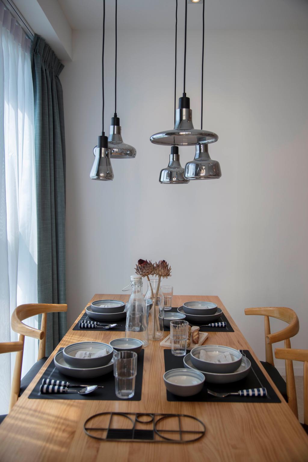Scandinavian, Condo, The Santorini, Interior Designer, Mr Shopper Studio, Bowl, Light Fixture, Glass, Banister, Handrail, Dining Room, Indoors, Interior Design, Room