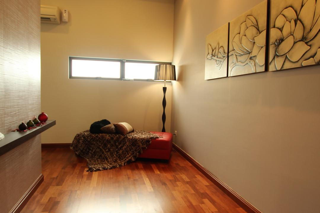Seri Austin Show House - A, Morse Interior Design, Traditional, Bedroom, Landed, Wooden Flooring, Parquet, Painting, Wall Art, Wall Decor, Home Decor, Wood Floor, Stand Lamp, Bench, Sofa Bench, Indoors, Interior Design, Room