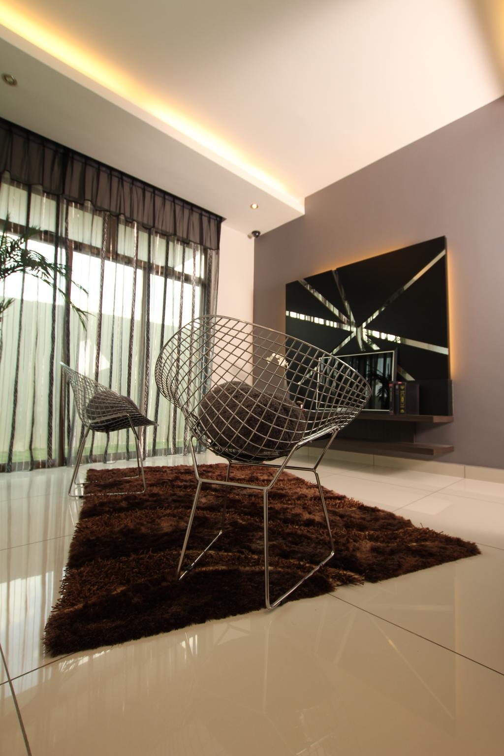 Traditional, Landed, Seri Austin Show House - A, Interior Designer, Morse Interior Design, Chairs, Wire Chair, Carpet, Tv, Feature Wall, Tv Console, Curtain, Cove Lighting, Chair, Furniture