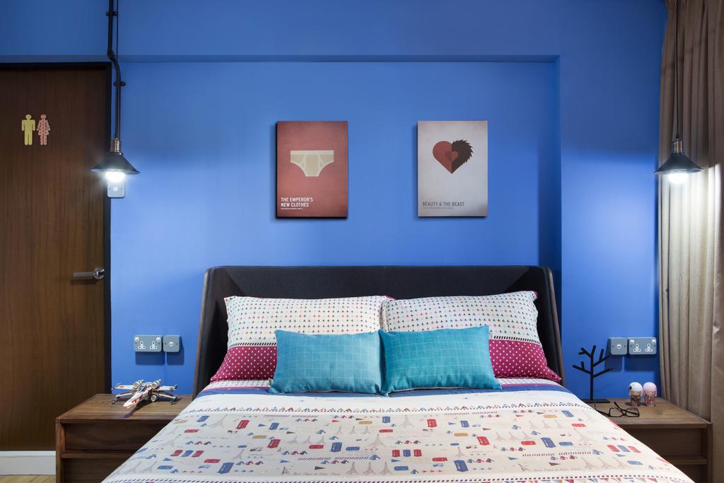Industrial, HDB, Bedroom, Bishan Street 23, Interior Designer, Fuse Concept, Indoors, Interior Design, Room, Home Decor, Quilt