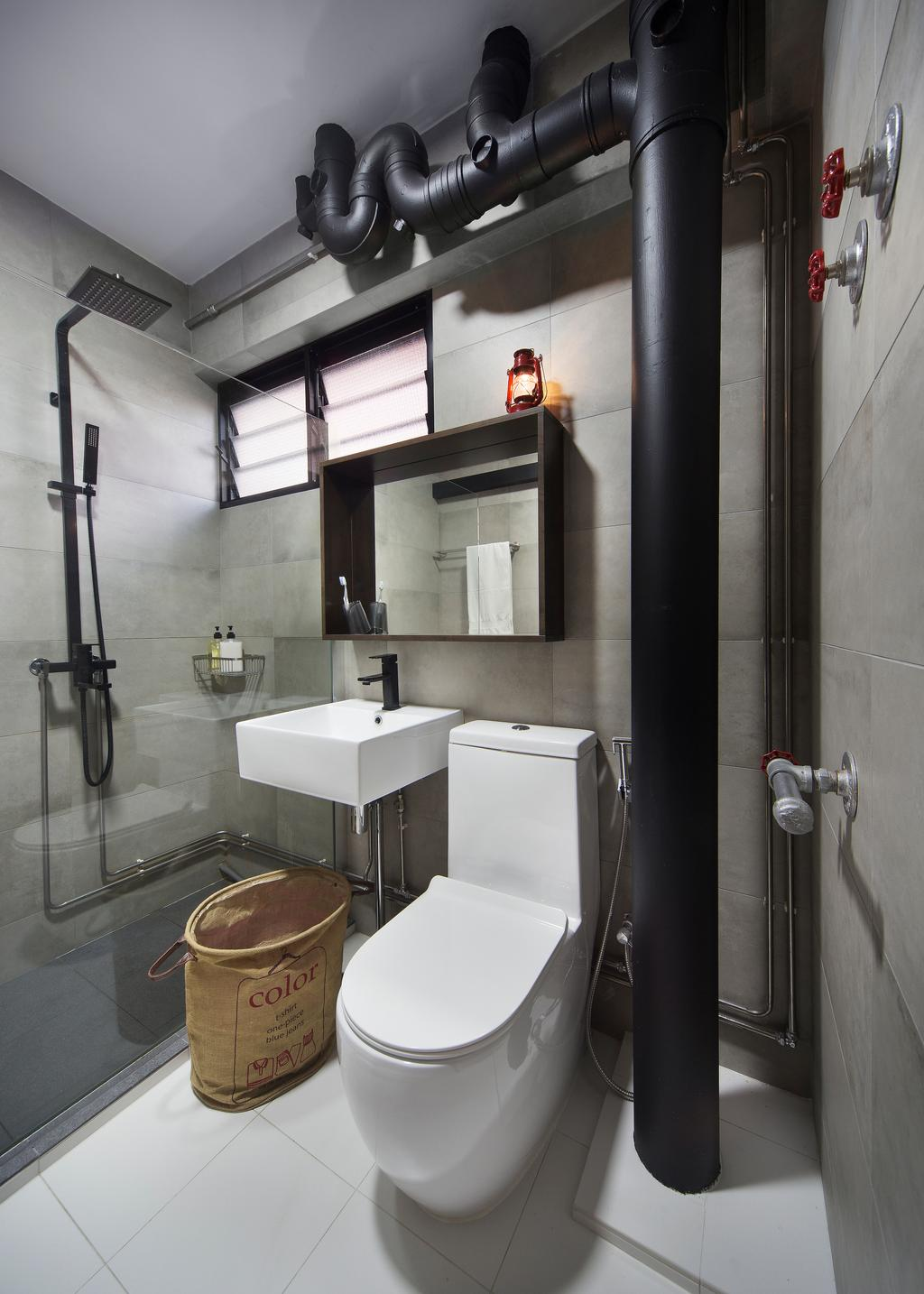 Industrial, HDB, Bathroom, Bishan Street 23, Interior Designer, Fuse Concept, Building, Housing, Indoors, Loft, Interior Design, Room, Toilet