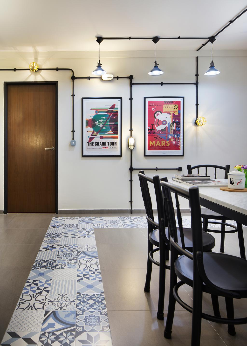 Industrial, HDB, Dining Room, Bishan Street 23, Interior Designer, Fuse Concept, Chair, Furniture, Dining Table, Table, Indoors, Interior Design, Room