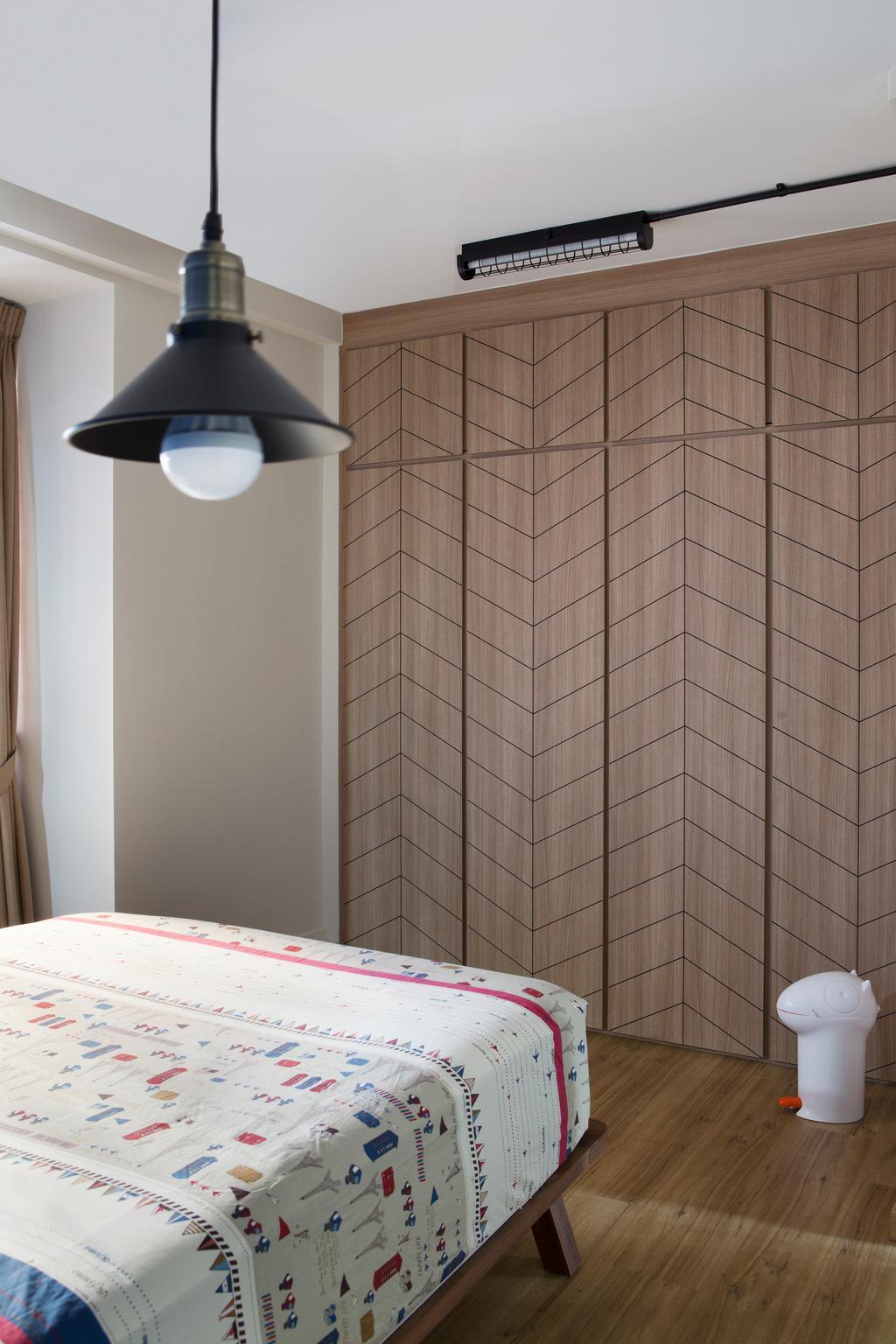 Industrial, HDB, Bedroom, Bishan Street 23, Interior Designer, Fuse Concept, Lighting, Lamp, Lampshade