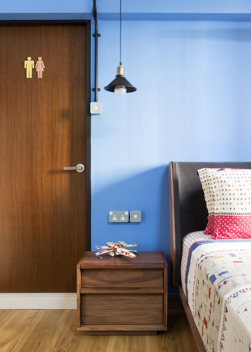 Industrial, HDB, Bedroom, Bishan Street 23, Interior Designer, Fuse Concept, Cushion, Home Decor
