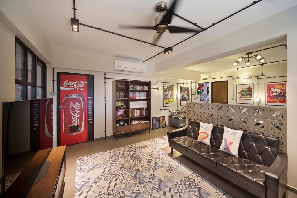 Industrial, HDB, Living Room, Bishan Street 23, Interior Designer, Fuse Concept