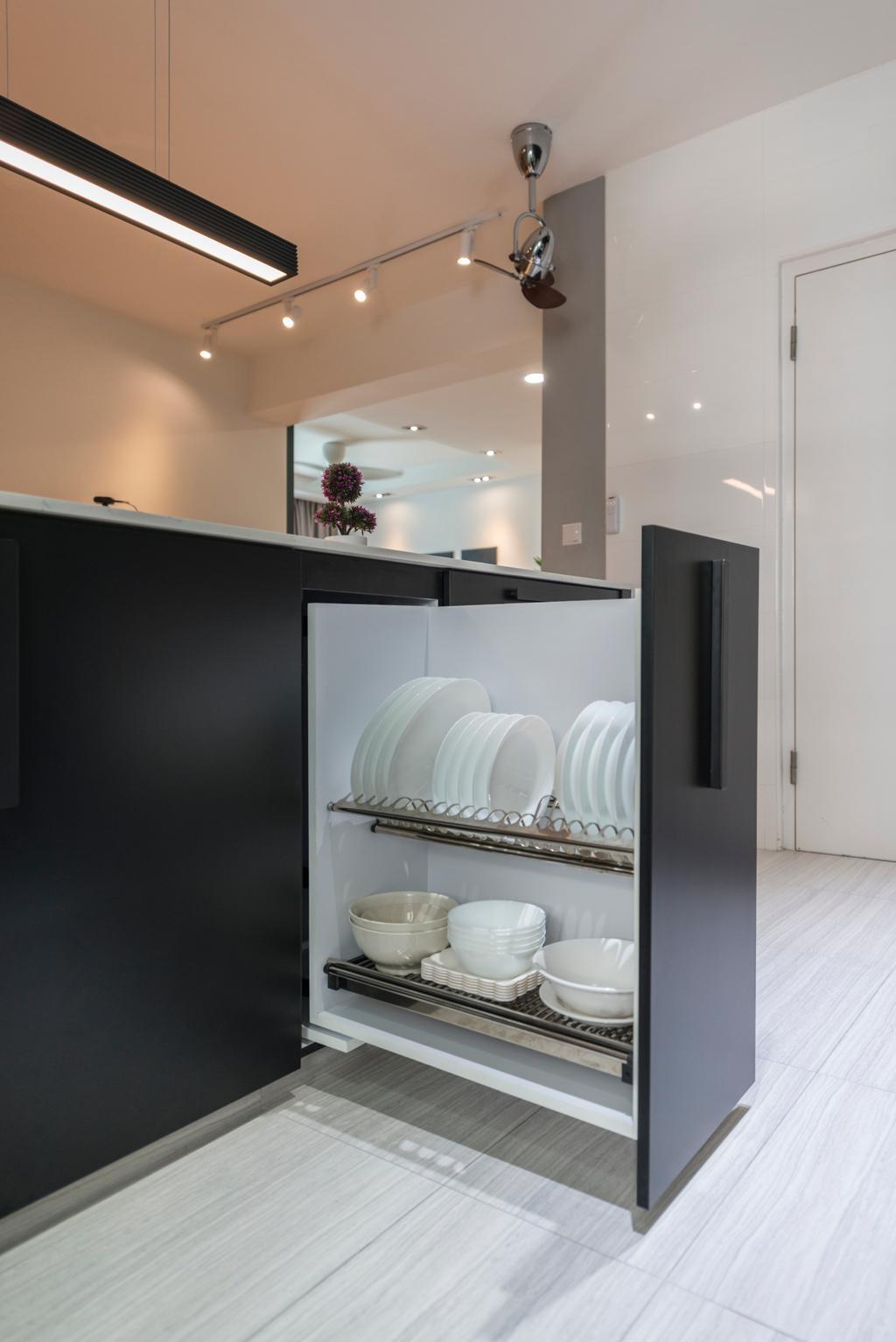 Contemporary, HDB, Kitchen, Yishun Street 51, Interior Designer, Fifth Avenue Interior, Pull Out Storage, Storage, Plate Rack, Bowl