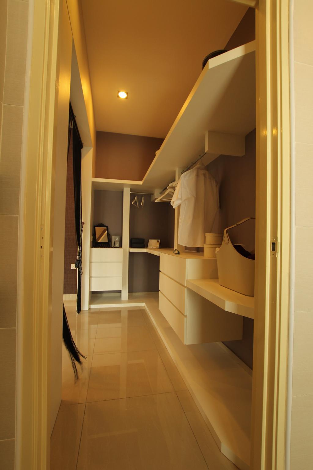 Modern, Landed, Bedroom, Seri Austin Show House - B, Interior Designer, Morse Interior Design, Wardrobe, Walk In Wardrobe, Clothes, Rack, Clothing, Clothes Rack, Shelves, Shelving, Indoors, Interior Design
