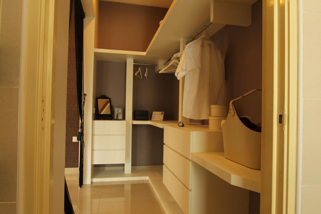Seri Austin Show House - B, Morse Interior Design, Modern, Bedroom, Landed, Wardrobe, Walk In Wardrobe, Clothes, Rack, Clothing, Clothes Rack, Shelves, Shelving, Indoors, Interior Design