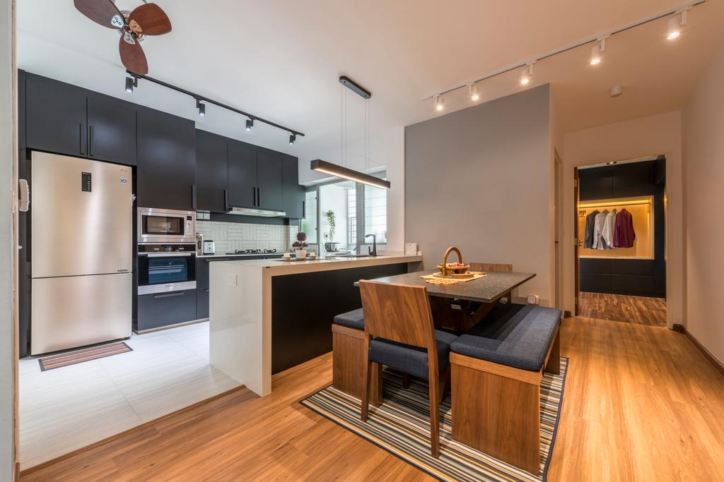 Contemporary, HDB, Dining Room, Yishun Street 51, Interior Designer, Fifth Avenue Interior, Open Concept, Indoors, Interior Design, Kitchen, Room, Appliance, Electrical Device, Oven