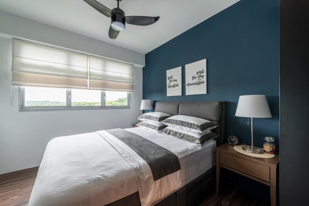 Contemporary, HDB, Bedroom, Yishun Street 51, Interior Designer, Fifth Avenue Interior, Bed, Furniture, Lamp, Indoors, Interior Design, Room, Table Lamp