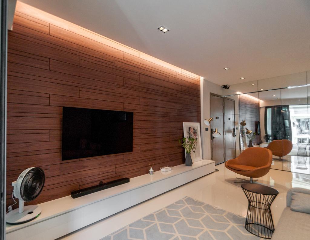 Modern, Condo, Living Room, The Terrace, Interior Designer, Space Atelier, Minimalistic, Chair, Furniture, Fireplace, Hearth, Indoors, Interior Design