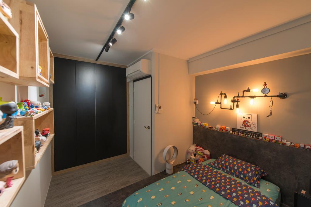 Contemporary, HDB, Bedroom, Boon Lay Drive, Interior Designer, Forefront Interior, Indoors, Interior Design, Room, Light Fixture, Basement