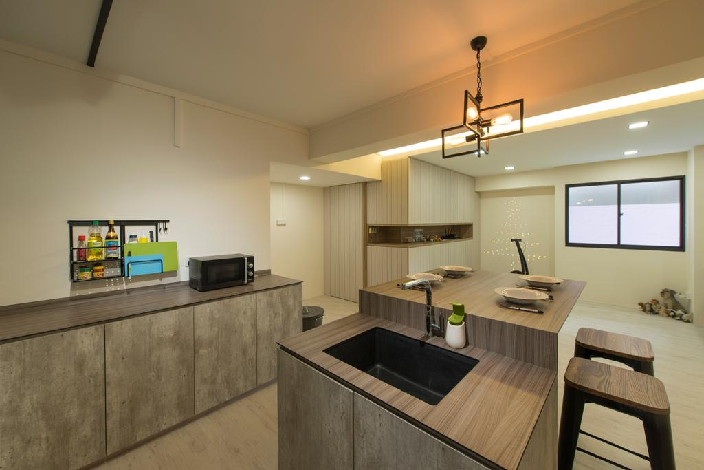 Contemporary, HDB, Kitchen, Boon Lay Drive, Interior Designer, Forefront Interior, Sink, Chair, Furniture, Dining Table, Table, Indoors, Interior Design, Room, Dining Room