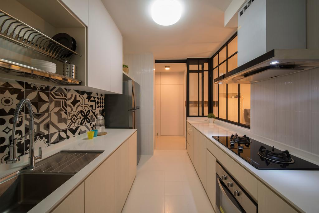 HDB, Kitchen, Bukit Batok Street 22, Interior Designer, Forefront Interior, Banister, Handrail, Staircase