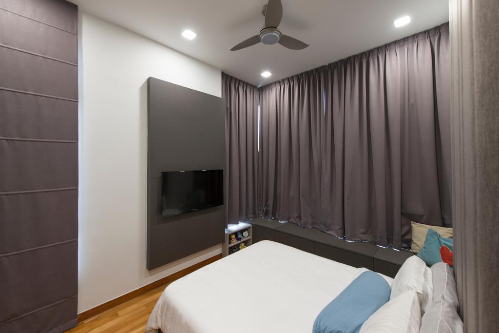 Modern, Condo, Bedroom, Eco Sanctuary, Interior Designer, Forefront Interior, Bed, Furniture, Propeller, Fireplace, Hearth