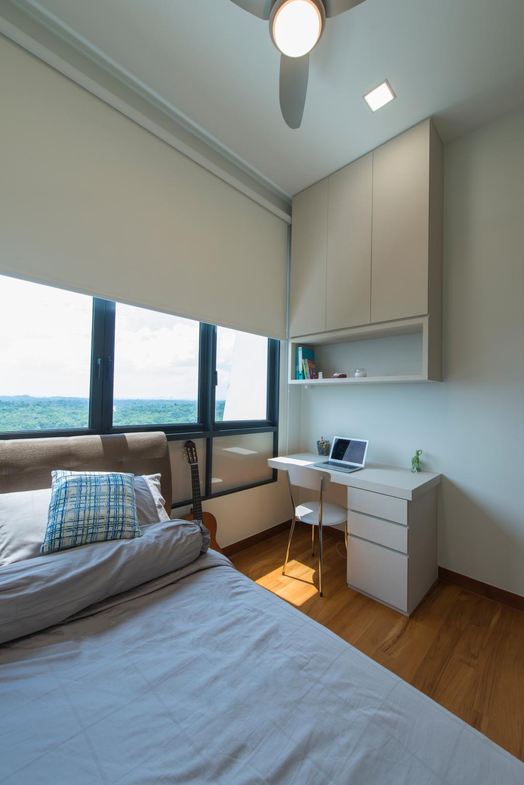 Modern, Condo, Bedroom, Eco Sanctuary, Interior Designer, Forefront Interior, Desk, Furniture, Table, Chair, HDB, Building, Housing, Indoors