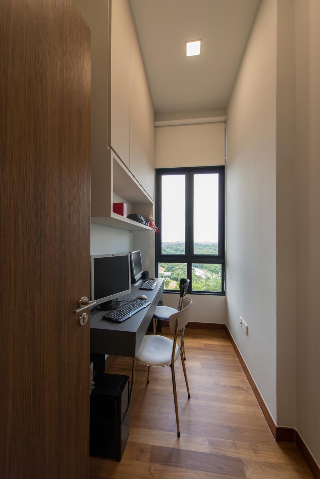 Modern, Condo, Study, Eco Sanctuary, Interior Designer, Forefront Interior, HDB, Building, Housing, Indoors, Computer, Electronics, Laptop, Pc, Chair, Furniture