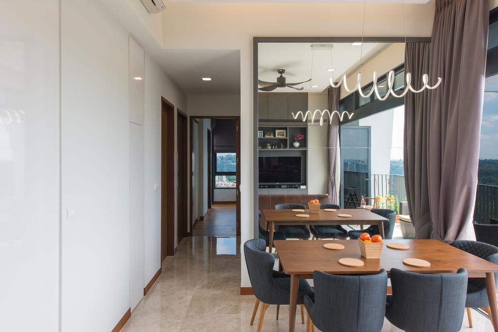 Modern, Condo, Dining Room, Eco Sanctuary, Interior Designer, Forefront Interior, Electronics, Entertainment Center, Chair, Furniture, Dining Table, Table, Indoors, Room
