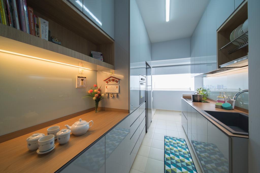 Modern, HDB, Kitchen, Ghim Moh Link, Interior Designer, Forefront Interior, Sink, Indoors, Interior Design, Building, Housing, Loft, Balcony
