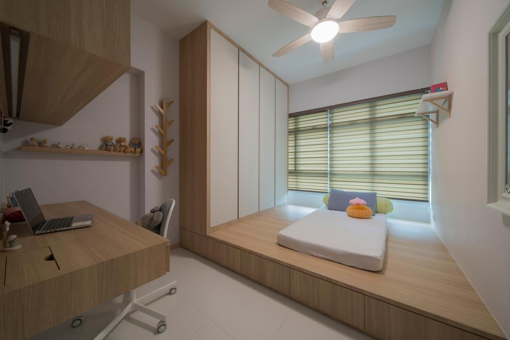 Modern, HDB, Bedroom, Ghim Moh Link, Interior Designer, Forefront Interior, Indoors, Interior Design, Banister, Handrail, Building, Housing, Shelf