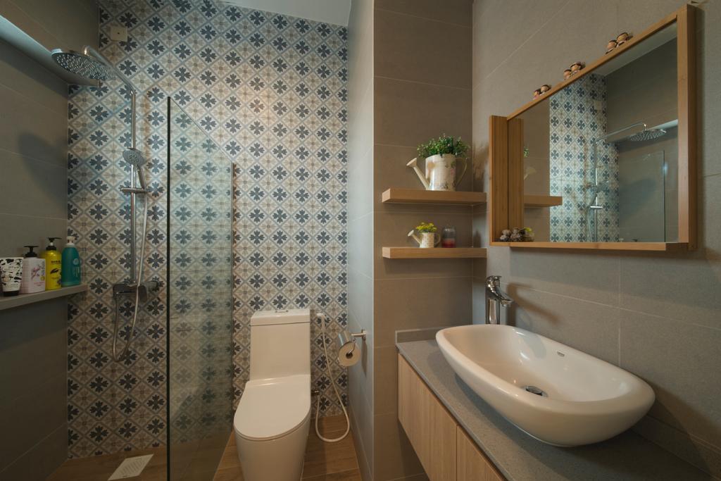 Modern, HDB, Bathroom, Ghim Moh Link, Interior Designer, Forefront Interior, Bottle, Indoors, Interior Design, Room, Toilet
