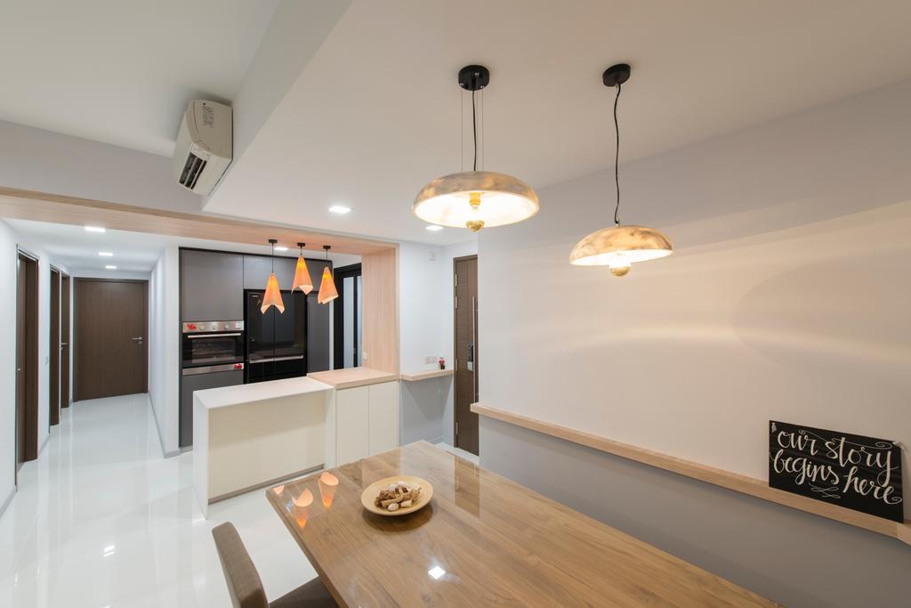 Scandinavian, HDB, Dining Room, Punggol Walk, Interior Designer, Forefront Interior, Indoors, Interior Design, Room, Flooring