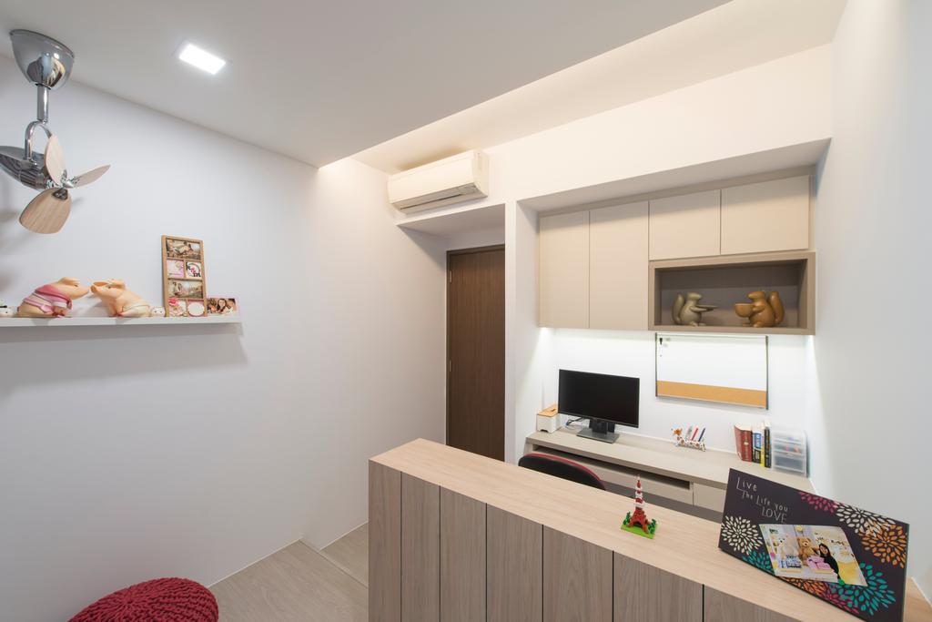 Scandinavian, HDB, Study, Punggol Walk, Interior Designer, Forefront Interior, Shelf, Building, Housing, Indoors, Loft
