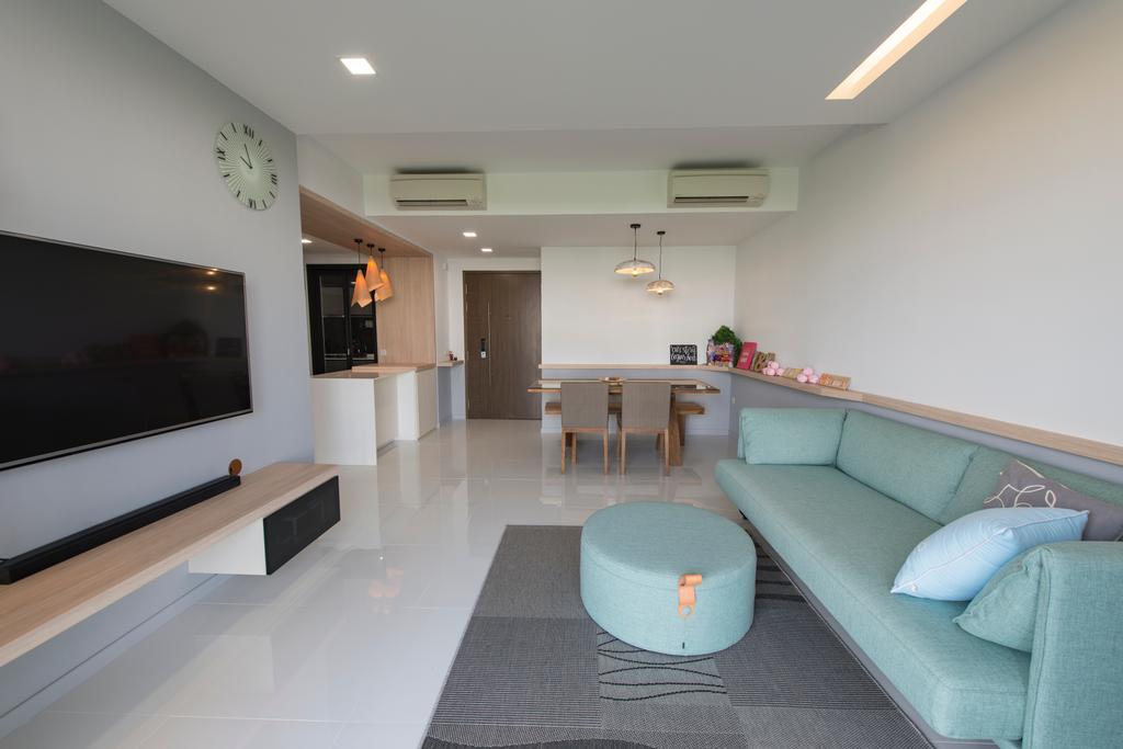 Scandinavian, HDB, Living Room, Punggol Walk, Interior Designer, Forefront Interior, Furniture, Ottoman, Dining Table, Table, Indoors, Interior Design