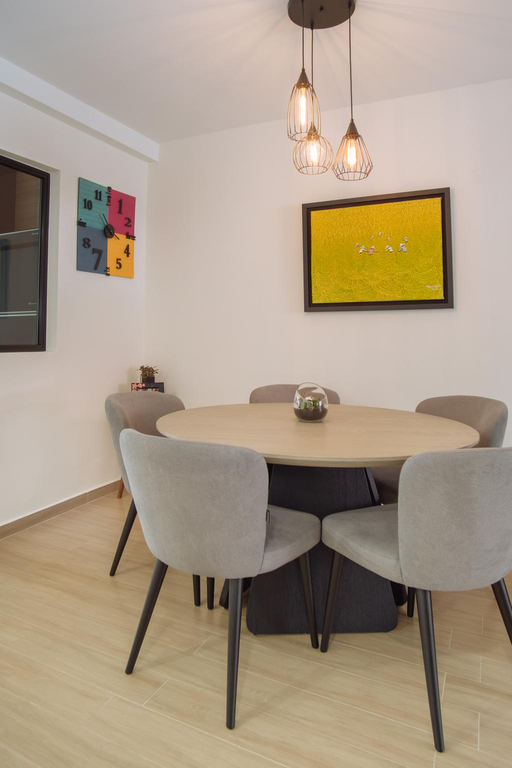 Contemporary, HDB, Dining Room, Bukit Batok, Interior Designer, Mink Design, Chair, Furniture, Dining Table, Table, Indoors, Interior Design, Room, Couch